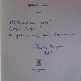 Florin Mugur - Spectacol amanat (versuri) (cu autograf)
