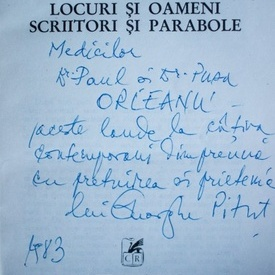Gheorghe Pitut - Locuri si oameni. Scriitori si parabole (cu autograf)