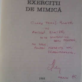 Iosif Naghiu - Exercitii de mimica (cu autograf)