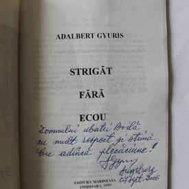 Adalbert Gyuris - Strigat fara ecou... (cu autograf)