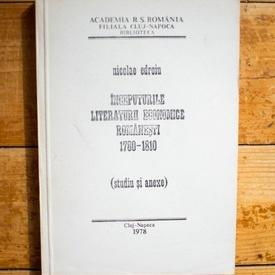 Nicolae Edroiu - Inceputurile literaturii economice romanesti (1780-1810) (cu autograf)