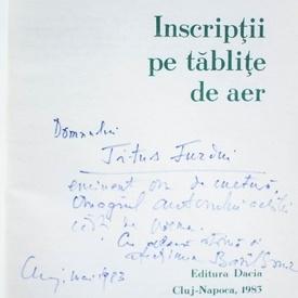Bazil Gruia - Inscriptii pe tablite de aer (cu autograf)