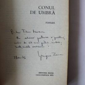 Grigore Zanc - Conul de umbra (debut, cu autograf)