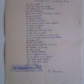 Matei Calinescu - poezie in manuscris