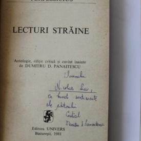 Perpessicius - Lecturi straine (cu autograful lui Dumitru D. Panaitescu)