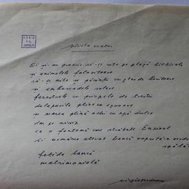 Virgil Teodorescu - Lot 2 poezii in manuscris si o felicitare in plic original catre Petre Stoica