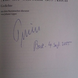 Petre Stoica - Aus der Chronik des Alten (editie in limba germana, cu autograf)