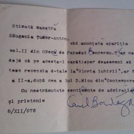Telegrama dactilografiata si semnata de Camil Baltazar