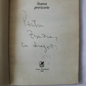 Ion Draganoiu - Starea provizorie (cu autograf)