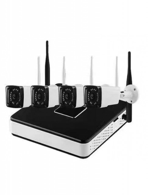 Kit Supraveghere Full Hd Wireless Wifi 4 Camere Exterior 1 3mpxl Ip Nvr 4 Canale
