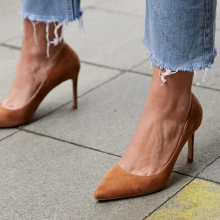 Pantofi Stiletto Premium Piele Naturala Camel 8 cm