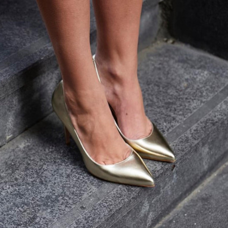 Pantofi Stiletto Premium Piele Naturala Gold 10 cm