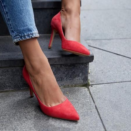 Pantofi Stiletto Premium Piele Naturala Coral 8 cm