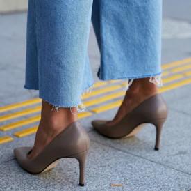 Pantofi Stiletto Premium Piele Naturala Vizon 8 cm