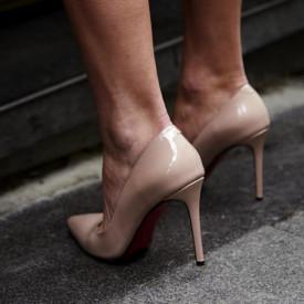 Pantofi Stiletto Premium Piele Naturala Nude 10 cm