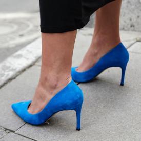 Pantofi Stiletto Premium Piele Naturala Blue 8 cm