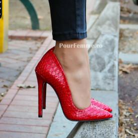 Pantofi Stiletto Premium Snake Negru / Rosu