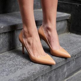 Pantofi Stiletto Premium Piele Naturala Caramel 8cm