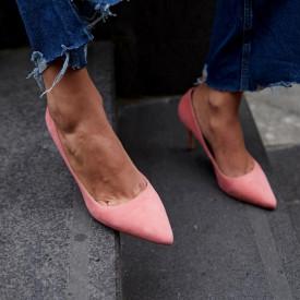Pantofi Stiletto Premium Piele Naturala Somon 8 cm