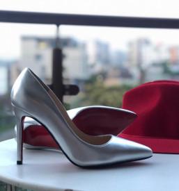 Pantofi Stiletto Premium Piele Naturala Silver 10 cm