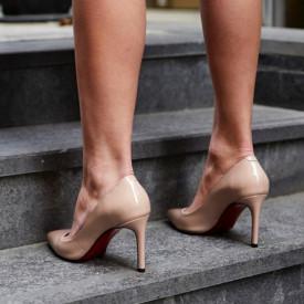 Pantofi Stiletto Premium Piele Naturala Nude 8 cm
