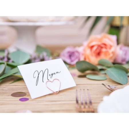 Suport place card, inima, Rose gold, 10buc/set