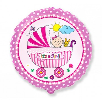 Balon folie 45cm carucior It's a girl!