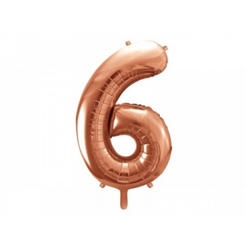 Balon Folie Figurina, Cifra 6, Rose gold