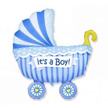 Balon folie 61cm figurina carucior It's a Boy