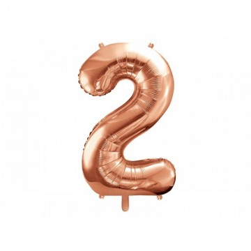 Balon Folie Figurina, Cifra 2, Rose gold