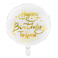 Balon folie Happy Birthday To You, Alb, 35cm
