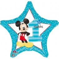 Balon folie stea ''Mickey 1st Birthday''