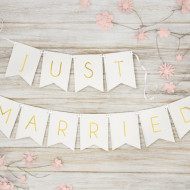 Banner Just Married, alb, 15 x 155 cm
