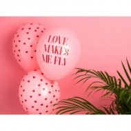 Baloane roz inscriptionate ''Love makes me fly'', 30cm, 5buc/set