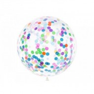 Balon latex, Jumbo, transparent, cu confeti multicolore, 1m
