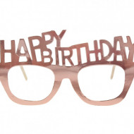 Ochelari din carton, Happy Birthday, rose gold, 4buc/set
