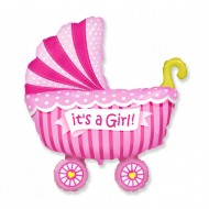 Balon folie 61cm figurina carucior It's a Girl