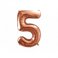 Balon Folie Figurina, Cifra 5, Rose gold