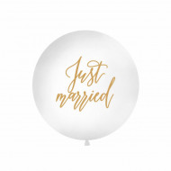 Balon Jumbo, Alb, inscriptionat cu Just married, 1m