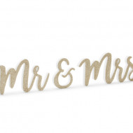 Decor masa de prezidiu Mr & Mrs, lemn, alb/auriu, 50x10cm