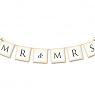 Banner MR MRS, Crem, 15 x 77cm