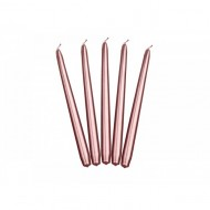 Lumanare conica, metalizata, Rose gold, 10buc/set