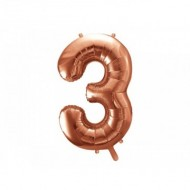 Balon Folie Figurina, Cifra 3, Rose gold