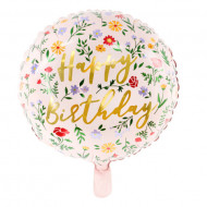 Balon folie Happy Birthday, Roz, 35cm