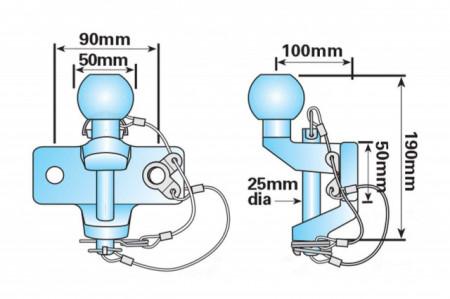 Carlig tractare dublu, cap sferic, 50 mm