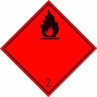 """Eticheta ADR suport aluminiu """"Pericol Transport gaze inflamabile clasa 2.1n"""""""