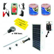 Kit complet gard electric 12/220V, 1.8 Joule cu panou solar 10W
