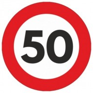 Indicator limitare viteza autocolant 50 km/ora Ø12