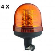 Pachet 4 girofaruri LED pentru suport tubular 18 leduri de 3W