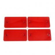 Set 4 catadioptri dreptunghiulari rosii adezivi